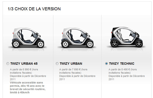 renault twizy prix d 39 achat et r servations voiture electrique. Black Bedroom Furniture Sets. Home Design Ideas
