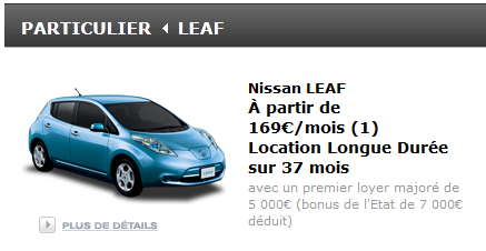 la nissan leaf lectrique en leasing 169 euros voiture electrique. Black Bedroom Furniture Sets. Home Design Ideas